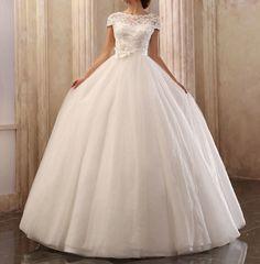 Vintage Inspired Wedding Dress Vintage Lace Cap Sleeve Top Custom Sizing Available. $299.99, via Etsy.