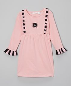Loving this A Little Annafaith Light Pink Initial Ruffle Babydoll Dress - Toddler & Girls on #zulily! #zulilyfinds