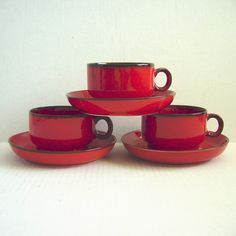 These would look great in my red and black kitchen! 3 Vintage Thomas Cinnabar Red Flame Cup and by DandelionGirl, $ 45.00