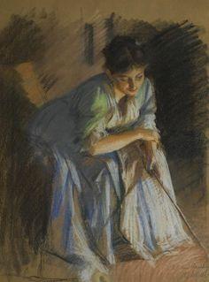 Albert Gustaf Aristides Edelfelt (Finnish painter) 1854 - 1905 Jenny Carrén Muotokuva (Portrait of Jenny Carré), s.d. coloured chalks and wax crayon on buff paper 61.5 x 46 cm. (24¼ x 18 in.)