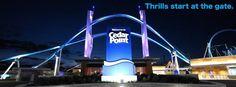 Cedar Point entrance sign at night.  Entrance renovation 2013.