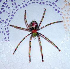 Black Oval Flower Spider by LindaLarsens on Etsy, $15.00