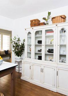 repurposed vintage hutch = additional storage