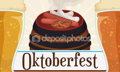 Banner with Traditional Meal for Oktoberfest Celebration, Vector Illustration — Stock Illustration Beer Pint Glasses, Celebration, Banner, Meals, Traditional, Illustration, Food, Oktoberfest, Banner Stands