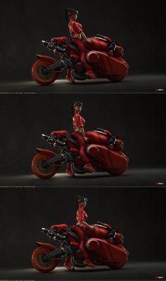 Pikabike Maria Kaneda tribute 1 by shtl on DeviantArt Futuristic Motorcycle, Futuristic Cars, Motorcycle Bike, Kaneda Bike, Motorbike Design, Concept Motorcycles, Japanese Motorcycle, Game Character Design, Cyberpunk Art