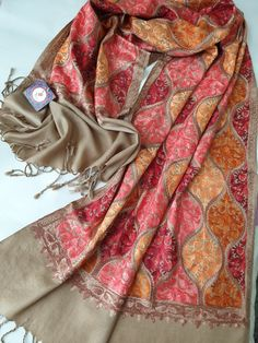 Your place to buy and sell all things handmade Kashmiri Suits, Kashmiri Shawls, Hand Embroidery Dress, Aari Embroidery, Hijab Fashion, Fashion Art, Womens Fashion, Pashmina Shawl, Shawl Patterns