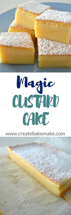 Vanilla Magic Custard Cake This is one to try ! Magic Custard Cake, Custard Desserts, Custard Tart, Baking Recipes, Cake Recipes, Dessert Recipes, Cupcakes, Cupcake Cakes, Beaux Desserts