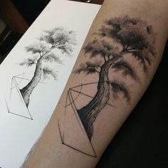 Geometric Tree Tattoo by Savaş Doğan