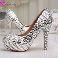 86.09$  Buy here - http://ali3iy.worldwells.pw/go.php?t=32348312392 - Womens High Heel Glitter Crystal Platforms Wedding Shoes Diamond Jeweled Silver Bridal Shoes 12cm Cinderella Prom Evening Pumps