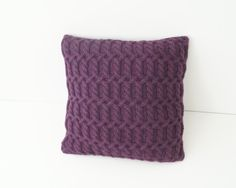 Hand knitted Cushion Cover, Cable Knit Pillow Cover, Knit Pillow Sham, Purple - KINGTON