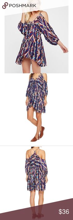 Free People Monarch Mini Blue Dress Boho Festival Nordstrom Free People Monarch Mini Dress In Blue  -Size Extra Small  -Printed boho inspired mini dress with cold shoulder cutouts, adjustable tie along neckline,  and elastic cuffs.  -Gypsy, Boho, Bohemian, Festival, Cold Shoulder Sleeve, cover up Free People Dresses Mini