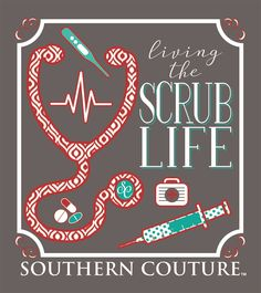 Southern Couture Living the Scrub Life Nurse RN CNA LPN Bright Long Sleeve Girlie Bright T Shirt. Design is on back, front of shirt has Southern Couture Logo. Nursing School Tips, Medical School, Nursing Schools, Nursing Memes, Nursing Career, Medical Art, Rn Nurse, Nurse Life, Nurse Stuff