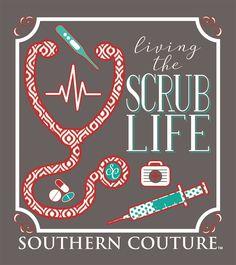 Southern Couture Preppy Living The Scrub Life Nurse T-Shirt