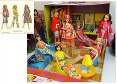 Been getting lots of fab Christmas and Birthday presents (mostly from myself! LOL) and Francie and her pals have therefore been getting lots of new and groovy fashions that I have always wanted:- The minute I saw Becky wear 'Midi Bouquet' in the 1971 Mattel booklet, I knew I had to have the doll and the outfit ... so was thrilled to finally get both! A friend mentioned it looked very 'Psychedelic Granny' which I loved... Twiggy in the background is wearing a minty version of 'Midi Plaid'…