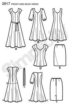 Image result for pattern for a center front seam dress