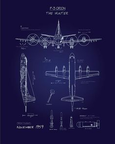 P-3 Blueprint SP00609-vintage-military-aviation-travel-poster-art-print-gift