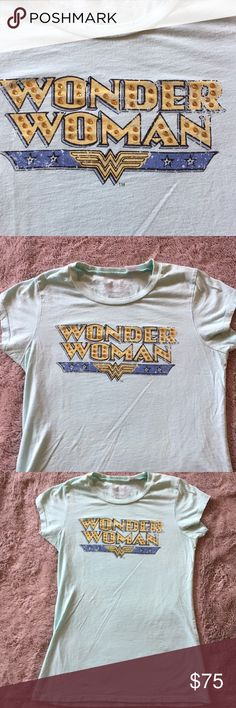 DC Comics Original Priorities Wonder Woman crystal DC Comics Original designed by Priorities Wonder Woman crystal mint colored cap sleeve tee. Rare with crystals worn once for a DC comic event med Priorities Tops Tees - Short Sleeve