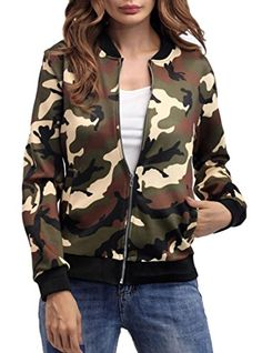 0cab325704d S-Fly Womens Lightweight Zipper Pockets Slim Fit Camo Bomber Baseball Jacket  2 L