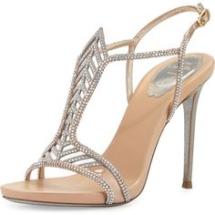 Rene Caovilla Crystal Chevron T-Strap 105mm Pump in Beige as seen on Carrie Underwood