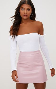 2058ee850e Rose Pink Faux Leather A-Line Mini Skirt Pink Leather Skirt, Leather A Line