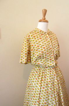 Vintage 1940s Yellow and Orange Floral Linen by missmittensvintage, $65.00 40s Dress, House Dress, Button Dress, Orange, Yellow, Linen Fabric, Day Dresses, 1940s, Vintage Dresses