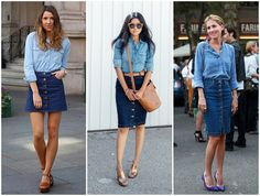 Saia jeans com botões na frente