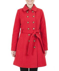 Take a look at this Red Trench Coat by Lavand on #zulily today!