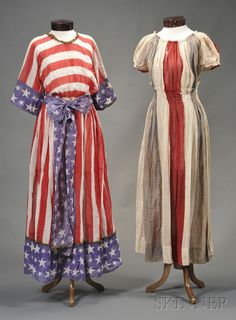 Two Patriotic Cotton Gauze Pageant Dresses, America, late century, one dress with red and white strip. Vintage Outfits, Vintage Fashion, Steampunk Fashion, Vintage Costumes, Gothic Fashion, Vintage Dresses, Patriotic Dresses, Star Spangled, Pageant Dresses
