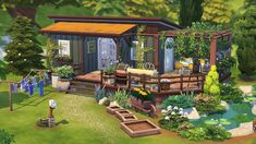 Houses and Lots: Secret Witch`s Trailer from Aveline Sims Sims 4 House Plans, Sims 4 House Building, Sims 3, Sims 4 Game, Sims 4 House Design, Casas The Sims 4, Sims 4 Build, Cute House, Sims 4 Cc Finds