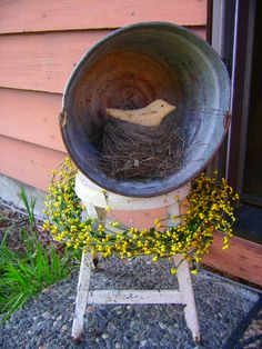 I have the perfect red stool, the perfect wash tub...plenty of nests and a wreath, probably find a bird easy enough.