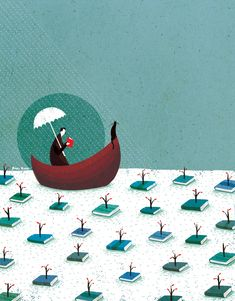 """Navegando entre libros"". Ilustración de Roger Ycaza (Ecuador)"