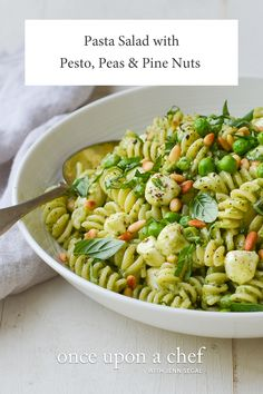 Pasta Salad with Pesto – Once Upon a Chef Pasta Salad with Pesto – Zesty pesto, green peas, pine nuts, and mozzarella pearls make a flavorful and pretty pasta salad. Easy Pasta Salad Recipe, Pesto Pasta Recipes, Potluck Recipes, Vegetarian Recipes, Healthy Recipes, Chef Recipes, Drink Recipes, Fresh Corn Salad, Gastronomia