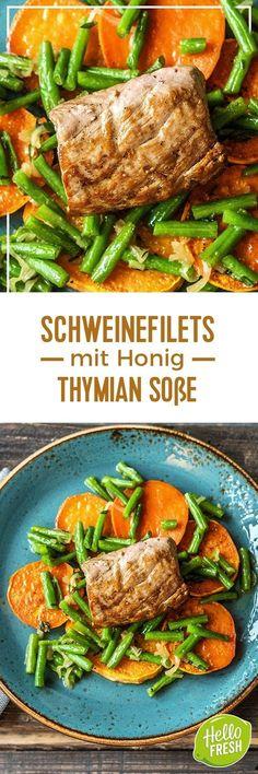 Step by Step Rezept: Schweinefilets mit Honig-Thymian-Soße, dazu gebackene Süßkartoffelscheiben und Buschbohnen Rezept / Kochen / Essen / Ernährung / Lecker / Kochbox / Zutaten / Gesund / Schnell / Frühling / Einfach / DIY / Küche / Gericht / Blog / Leicht / 30 Minuten / Schwein / Filet / Sonntagsbraten / Glutenfrei / Kalorienarm #hellofreshde #kochen #essen #zubereiten #zutaten #diy #rezept #kochbox #ernährung #lecker #gesund #leicht #schnell #frühling #e