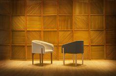 Cadeira Taco by Mittisa O detalhe da continuação dos pés frontais de madeira pela lateral do assento são o charme desta confortável cadeira
