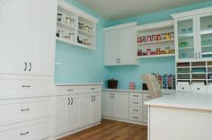 craft room, robin's egg blue wall