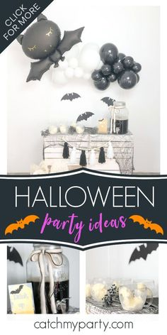 Take a look at this fun Halloween party! The decorations are fantastic! See more party ideas and share yours at CatchMyParty.com #catchmyparty #partyideas #halloween #halloweenparty Halloween Bingo Cards, Halloween Countdown, Halloween Party Favors, Halloween Bats, Halloween Cupcakes, Halloween Activities, Family Halloween, Halloween Decorations, Balloon Garland