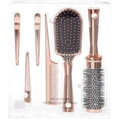 Rose Gold Hair Brush Set ($3) ❤ liked on Polyvore featuring beauty products, haircare, hair styling tools, brushes & combs, beauty, hair, brush comb, hair brush comb, paddle brush and detangle brush