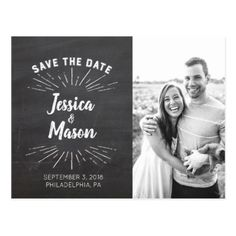 Chalkboard Save The Date Postcard - postcard post card postcards unique diy cyo customize personalize