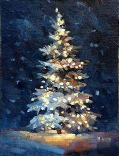 Acrylic Art Christmas Scene - Christmas Tree painting with glowing lights. Christmas Paintings On Canvas, Christmas Tree Painting, Winter Painting, Christmas Art, Christmas Ideas, Winter Art, Christmas Lights, Winter Christmas Scenes, Painting Snow