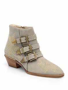 Chloé - Suzanna Studded Suede Ankle Boots - Saks.com
