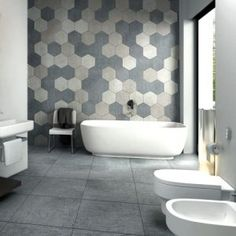Bathroom Feature Wall. Large Multi coloue Hexagons. Northern Rivers Bathroom Renovations, bathroom ideas.