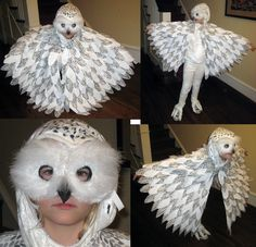 An owl makeup tutorial for halloween diy pinterest owl homemade halloween costume hedwig the snowy owl owl costumesowl costume diycrow solutioingenieria Image collections