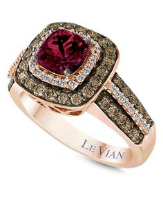 Le Vian Garnet (1 ct. t.w.) and White and Chocolate Diamond (3/4 ct. t.w.) Square Statement Ring in 14k Rose Gold