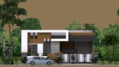 One Story House Plan Sketchup Home Design. This villa is modeling by SAM-ARCHITECT With 1 stories level. It's has 4 bedrooms. One Story House Plan Modern Bungalow House Design, Single Floor House Design, Small Modern House Plans, Modern Small House Design, Duplex Design, House Front Design, Best House Plans, Dream House Plans, Villa Design