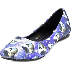 TUK Womens Cats In Space Ballet Flat Blue 8 M US -- For more information, visit image link. Note:It is Affiliate Link to Amazon.