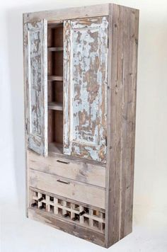 Armadio - made of used 1930's cabinet doors and used scaffolding wood - doorrood.org