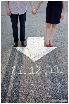 This is cool! We can have a couple pics on the save the date. I've seen one on each side. Save the Date Photo idea- using street arrow