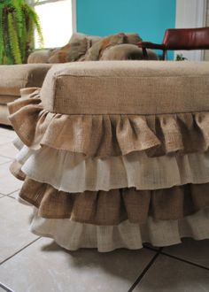 I love this! I bet I could make it         Burlap Ottoman Cover by PaulaAndErika on Etsy, $140.00