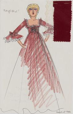 A design of a long red gown.