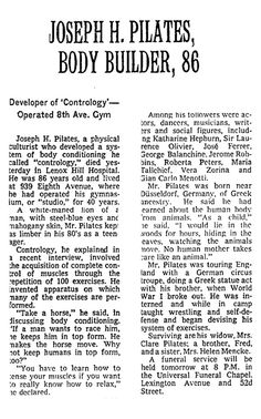 Joseph H. Pilates obituary. Appeared in the New York Times on October 10, 1967. #pilates #history